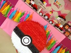 Pink Pokemon birthday party! See more party planning ideas at CatchMyParty.com!