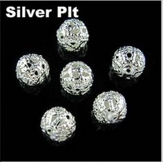 100 Pcs Filigree Flower Cup Shape Silver Loose Bead Caps for Jewelry Making ZB
