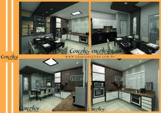 O mobiliário escuro contrastando com algumas partes claras e uma iluminação diferenciada podem além de sofisticar o ambiente deixa-lo alegre. Este é um exemplo de que cores escuras podem agregar muita qualidade a uma cozinha!