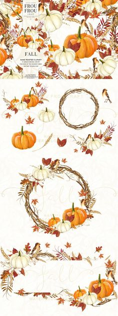 Watercolor Fall Autumn Clipart. Watercolor Flowers. $9.00