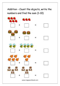 For practicing some math skills like simple addition, there is just nothing more efficient than a pencil and paper. These addition worksheets for the addition math worksheets start with simple addition. Basic Math Worksheets, Kindergarten Addition Worksheets, Subtraction Worksheets, 1st Grade Worksheets, Free Printable Kindergarten Worksheets, Coloring Worksheets, Printable Coloring, Free Printable Numbers, Preschool Math