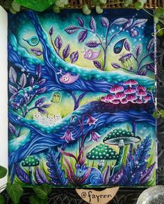 """Instagram media by faynnn - I loved coloring this page so freaking much !!! The colors scheme is inspired by the video game """"Ori and the blind forest"""" mostly #mariatrolle #skymningstimman #coloriage #coloring #colouring #pen #gelpen #fineliner #stabilo #fabercastell #fabercastellpitt #winsorandnewton #watercolor #gouache #oriandtheblindforest"""
