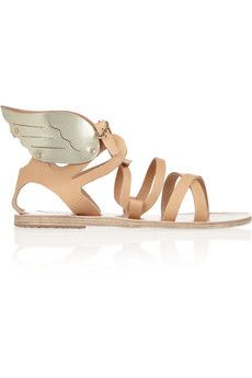Ancient Greek Sandals Nephele leather wing sandals - women's shoes (neutrals, sand and gold leather, footwear fashion)