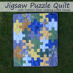 Pieces by Polly: Jigsaw Puzzle Baby Quilt (Free Pattern Included). Just a great looking quilt Quilting Tutorials, Quilting Projects, Quilting Designs, Sewing Projects, Quilting Patterns, Quilting Ideas, Quilting Board, Beginner Quilt Patterns Free, Free Baby Quilt Patterns