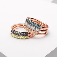 Designed to be worn stacked together the new #MonicaVinader Stellar coloured diamond rings add a contemporary elegance to your look.