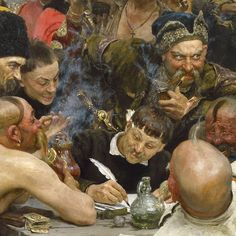 "Detail, Ilya Repin's ""Zaporozhian Cossacks Writing a Letter to the Turkish Sultan""."