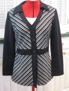 Black and White Shirt Size Large Button down Blouse Ladies Top
