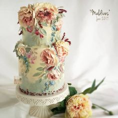 Peony in the Maldives ? How nice to be there the most dream destination! (After class) Even you do not stay in the Maldives, thinking about class and after class. Invite you guys t Crazy Cakes, Fancy Cakes, Gorgeous Cakes, Pretty Cakes, Amazing Cakes, Bolo Floral, Floral Cake, Wedding Cake Designs, Wedding Cakes