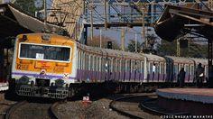 Pune bound AC EMU #4016 B departs from Kanhe station.