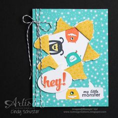Super fun kid's card with Freaky Friends Stamp Set! ~ Cindy Schuster