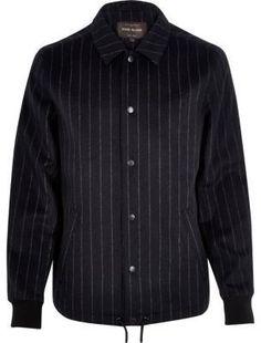 River Island Mens Navy pinstripe wool-blend coach jacket Mens Winter Coat 1e09c9751