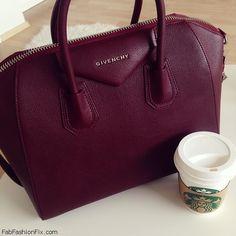 Burgundy red Givenchy Antigona handbag. #givenchy #antigona