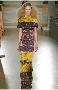 """""""L'Wren Scott describes her AW13 collection as being inspired by Gustav Klimt's paintings and the books 'Dreaming of Decadence' and 'The Lady in Gold'. This sense of luxury is conveyed through gold applique and accessories and an air of heady orientalism.""""  http://www.lwrenscott.com"""