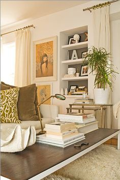 .For wall niche area - series of white shelves
