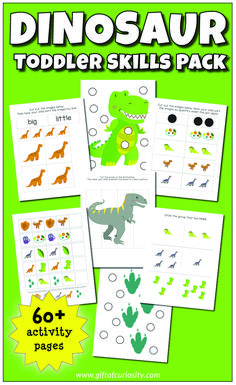 This Dinosaur Toddler Skills Pack features more than 60 pages of dinosaurthemed activities for toddler children ages 13 including doadot activities coloring pages puzzles. Color Activities For Toddlers, School Age Activities, Dinosaur Activities, Preschool Special Education, Preschool Learning Activities, Preschool Activities, Shape Activities, School Worksheets, Cute Kids Crafts