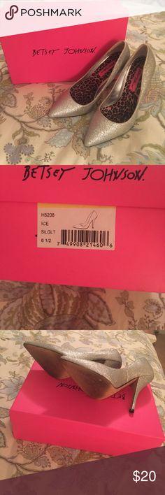 Betsey Johnson - Silver glitter shoes - Size 6.5 Betsey Johnson - Silver glitter shoes - Size 6.5.  Original box included. Wore once. Betsey Johnson Shoes Heels