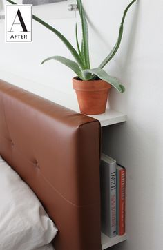 Leather covered headboard.