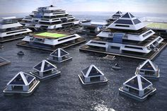 Architect Pierpaolo Lazzarini is trying to crowdfund the creation of a self-sufficient floating city-hotel of modular pyramids. Floating Architecture, Concept Architecture, Futuristic Architecture, Facade Architecture, Sustainable Architecture, Great Buildings And Structures, City Buildings, Future City, Architecture Minecraft