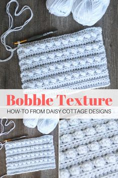 Learn how to crochet a textured piece using this bobble crochet pattern from Daisy Cottage Designs | free crochet pattern, bobble crochet pattern, easy bobble crochet pattern, ribbed crochet pattern