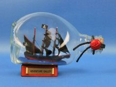 "Captain Kidd's Adventure Galley Pirate Ship in a Bottle 7"" from Handcrafted Model Ships - In stock and ready to ship"