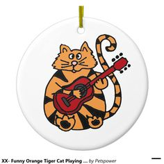 XX- Funny Orange Tiger Cat Playing Guitar Double-Sided Ceramic Round Christmas Ornament