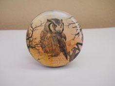 Vintage Style Brown Full Moon Owl Keychain Key Klip No 2  by keyklips for $12.50