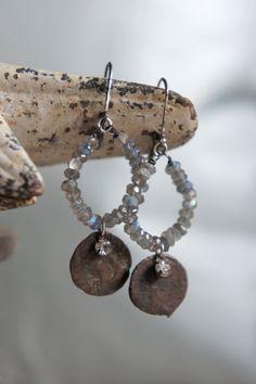 Vintage assemblage earrings gemstones by frenchfeatherdesigns, $62.00