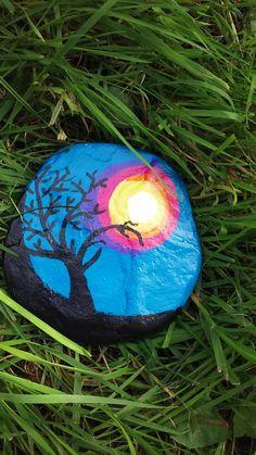 Sunset painted on Lake Huron beach stone