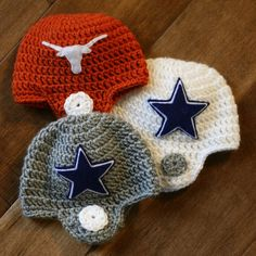 Crocheted Football Helmet Baby Beanie, ya know just in case a boy ever comes our way ; Crochet For Kids, Crochet Baby, Knit Crochet, Crochet Round, Free Crochet, Crochet Crafts, Crochet Projects, Crochet Football, Baby Helmet