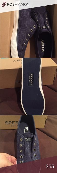 Sperry Top-Slider Navy Blue Slip On Tennis Size 7, brand new, never worn still in their box. I got the wrong color and have no use for them. Sperry Top-Sider Shoes Sneakers
