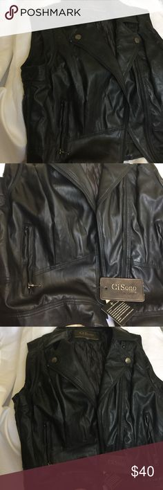 CI SONO BLACK FAUX LEATHER VEST Beautiful Ci Sono vest with silver/gunmetal hardware detail! Brand new! Cool with a tank or long sleeve for fall and winter. Ci Sono Jackets & Coats Vests