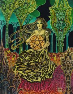'Queen of Pentacles' by Emily Balivet http://www.etsy.com/listing/150174840/queen-of-pentacles-tarot-goddess-art