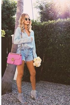 Rosie Huntington-Whiteley wearing Chanel Striped Lambskin Ankle Boots with Camellias, Paige Bellamy Shirt in Eiffel, Paige Keira Shorts in Aviva Destructed, Gucci Gg Marmont Medium Matelasse Leather Shoulder Bag and Ray-Ban Rb3548 Hexagonal Flat Lens Sunglasses