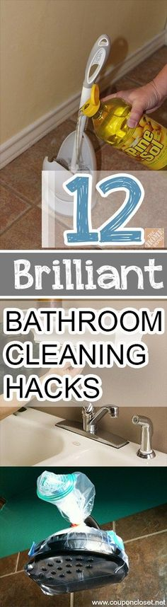 Thiese bathroom cleaning hacks will make your life easier. Shower heads, porcelain sinks and hard water spots can be easy tasks with these cleaning tips and tricks!