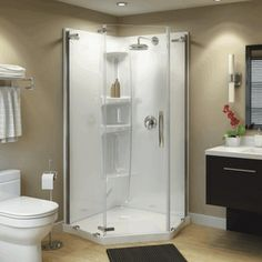 Olympia Pentangled Shower Door and White Base with Clear Glass, Chrome Trim