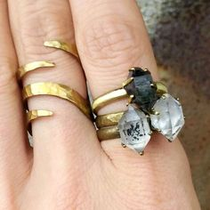 RAW HERKIMER DIAMOND Ring Pick Size & Color Of Gemstone