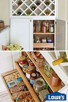 Cabinets with pullout shelves make grocery inventory and storage easier. If you're not planning a kitchen makeover, simply retrofit existing cabinetry to enjoy easy-access shelves. Kitchen Redo, Kitchen Storage, Kitchen Remodel, Kitchen Dining, Kitchen Ideas, Home Organization, Organization Ideas, Home Projects, Home Remodeling