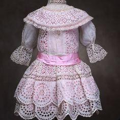 """Antique white dress for doll 25-27"""""""