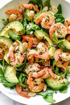 Keto Citrus Shrimp and Avocado Salad . Ingredients 1 pound mediumPan-Seared Citrus Shrimp 8 cups greens such as arugula spinach,… Shrimp Avocado Salad, Avocado Salad Recipes, Salad Recipes For Dinner, Dinner Salads, Easy Salads, Healthy Salad Recipes, Avocado Dessert, Avocado Chicken, Pasta Salad