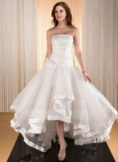 A-Line/Princess Strapless Asymmetrical Taffeta Organza Wedding Dress With Flower(s) Cascading Ruffles (002031886) - JJsHouse. This could be the one!