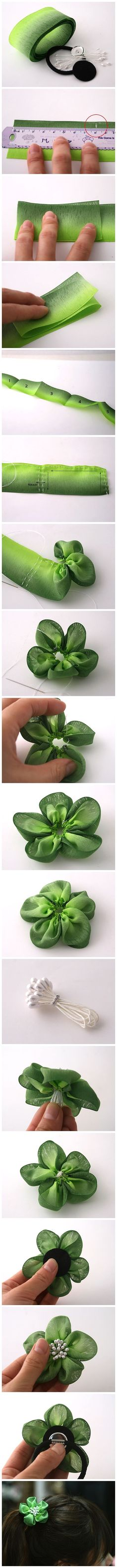 DIY 5 petal flower with fabric for hair clips