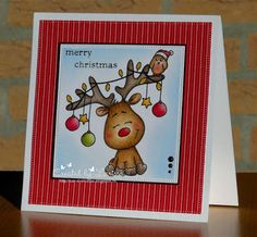 Car-D-elicious: Gerda Steiner designs - Reindeer with bird Company Christmas Cards, Christmas Cards 2017, Simple Christmas Cards, Noel Christmas, Xmas Cards, Holiday Cards, Christmas Crafts, Fun Fold Cards, Cute Cards