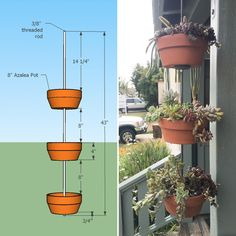Vertical Gardens I'm going to make this. Vertical Clay Pot Garden - How to make a vertical garden out of your clay terra cotta pots: a DIY tutorial. Vertical Herb Gardens, Vertical Planter, Vertical Garden Diy, Hanging Herb Gardens, Pots D'argile, Clay Pots, Planter Pots, Planter Ideas, Organic Gardening