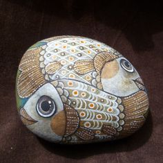 Fish painting on a rock