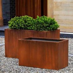 Sturdy and weathered to perfection, these modern steel planters with rust oxidized finish look as gorgeous indoors as they will on your deck or patio. If used outdoor a sealer is recommended to preven