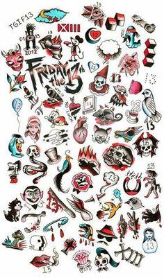 Tattoo old school, halloween tattoo flash, spooky tattoos, 13 tattoos, skull tattoos Spooky Tattoos, 13 Tattoos, Skull Tattoos, Body Art Tattoos, Tattoos For Guys, Tattoo Old School, Old School Tattoo Designs, Tattoo Designs Men, Doodle Tattoo