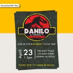 Jurassic Park Dinosaurs Dino-mite Birthday Party Printable Invitations