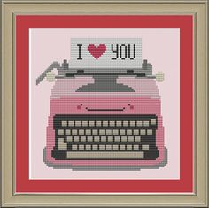 Typewriter I love you: cute cross-stitch by nerdylittlestitcher
