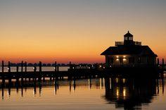 Roanoke Marshes Lighthouse, Manteo, North Carolina at Sunset
