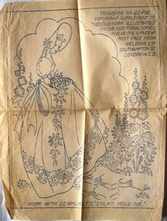 2 Vintage Iron-on Embroidery Transfers Depicting Crinoline